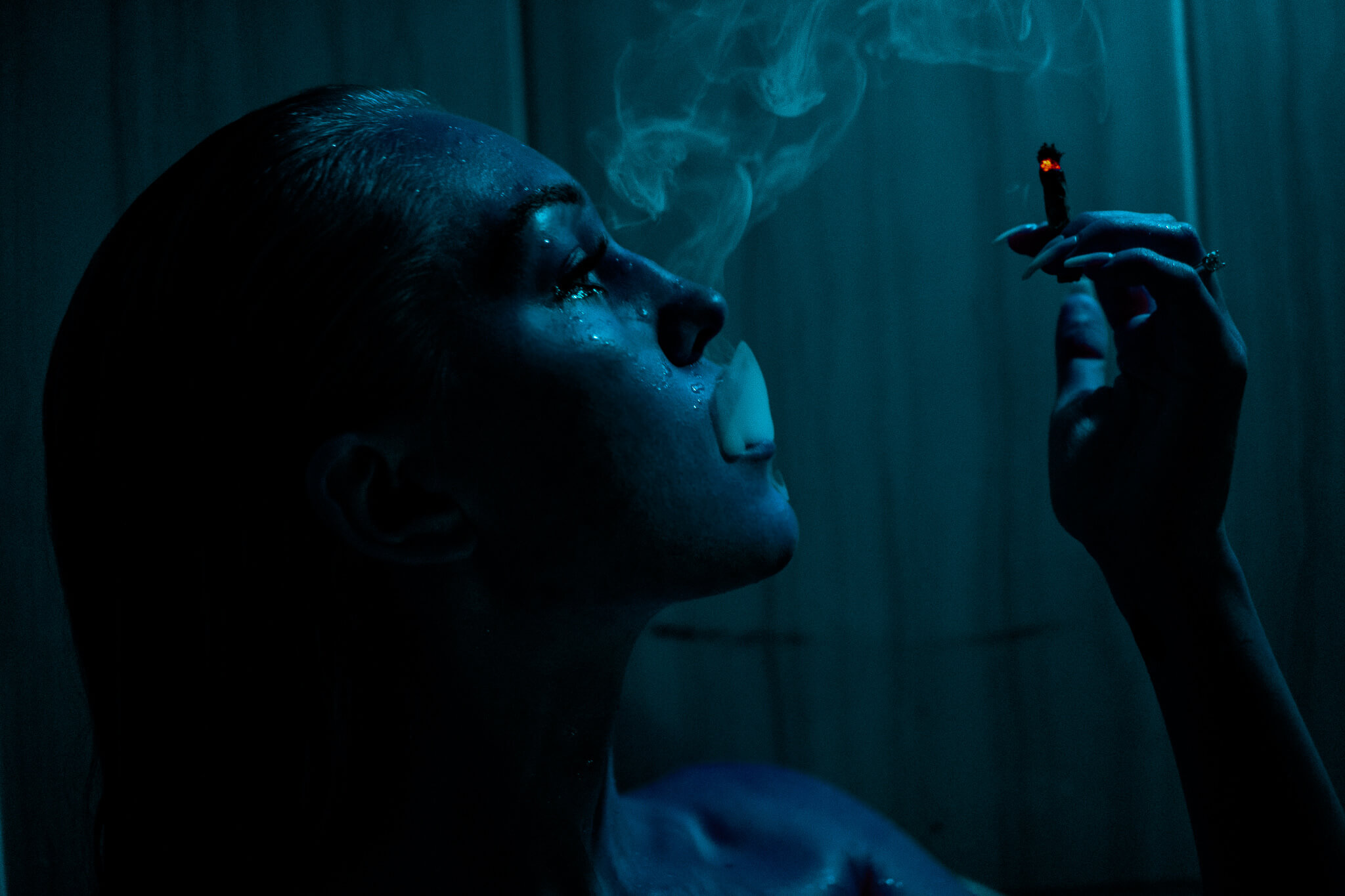 blu hued smoking shot